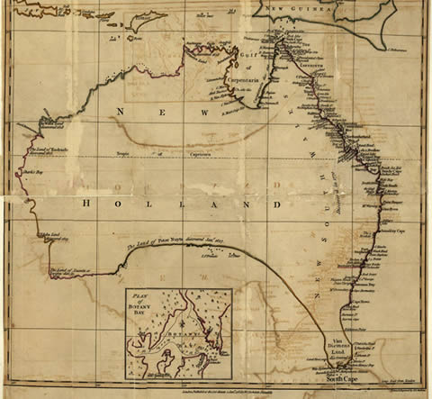 captain cooks map of australia