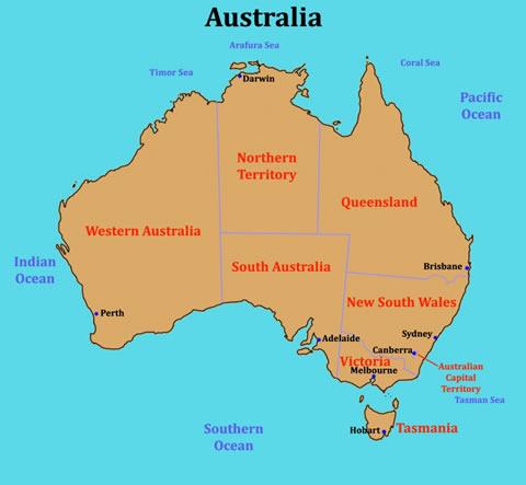 modern map of australia